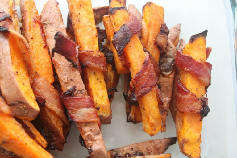 The Best Bacon Wrapped Sweet Potato Fries Oven Baked