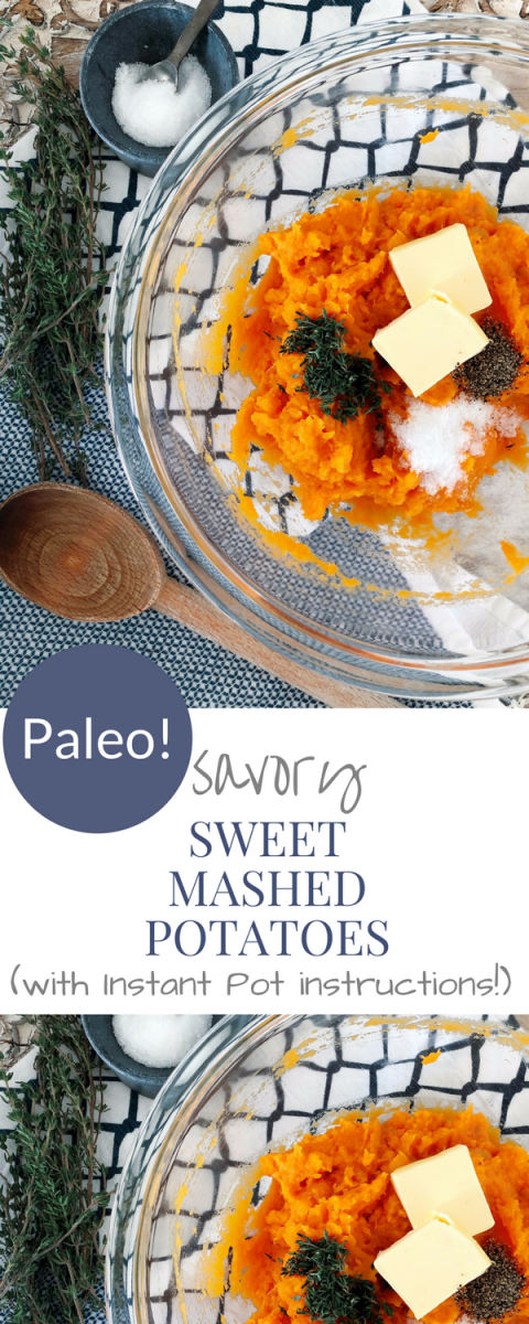 This PALEO savory sweet mashed potato recipe will become your new side dish staple! It is so creamy and delicious!