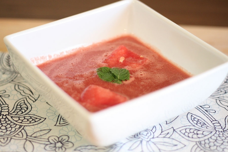 summer paleo soup with watermelon and lime