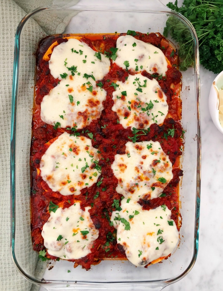 You will not believe how delicious this lasagna is! No guilt and you won't even miss the noodles. Super, easy weeknight meal from Our Savory Life!