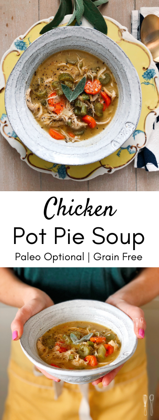 Savory, rich chicken pot pie soup! Perfect for a weeknight meal! Paleo crust instructions included!