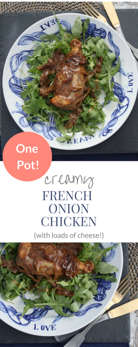 This recipe is irresistible! French Onion Chicken with Gruyere cheese! Rich sauce, melty cheese! Comfort meal made with real food.