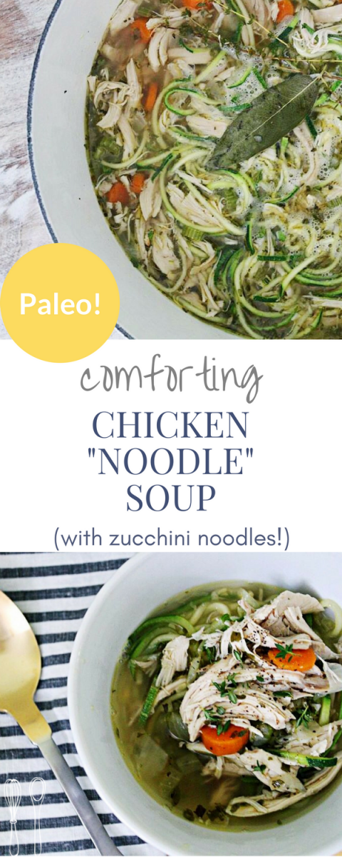 A one pot wonder for the whole family! Perfect for a weeknight meal!This chicken zoodle soup recipe is DELICIOUS & paleo!!!