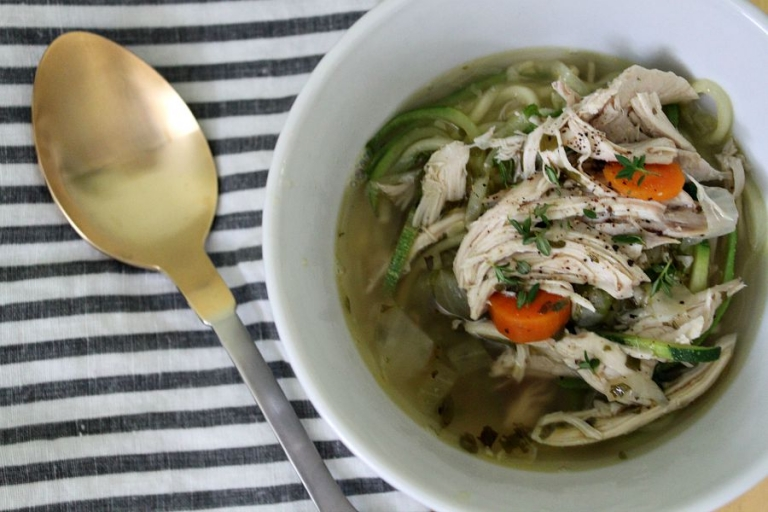 Bowl of Paleo chicken soup with zoodles