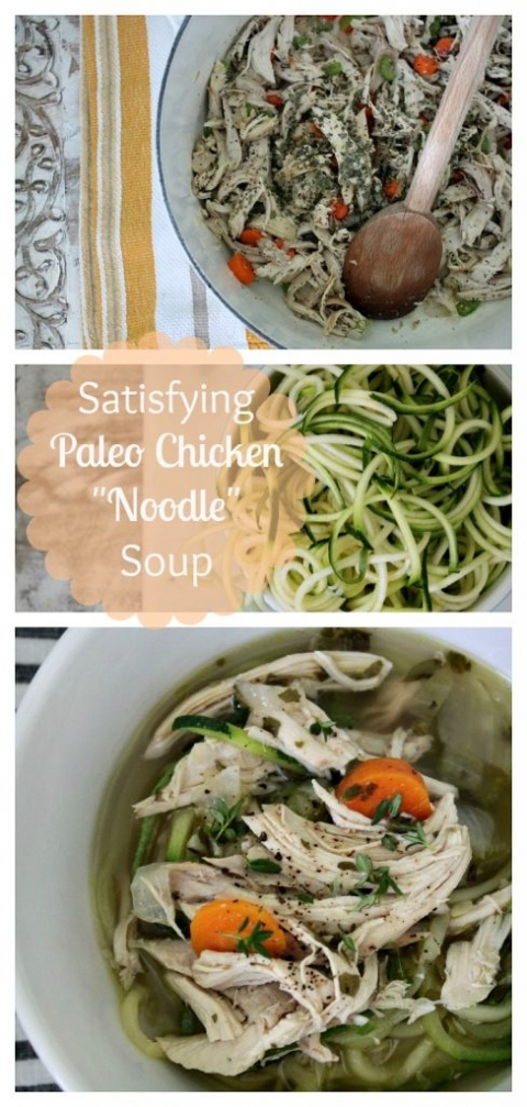 "Weeknight recipe: totally satisfying PALEO chicken ""noodle"" soup!"