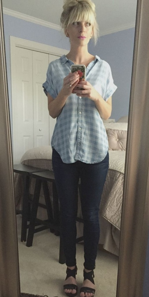 bri in anthropologie shirt and wedges