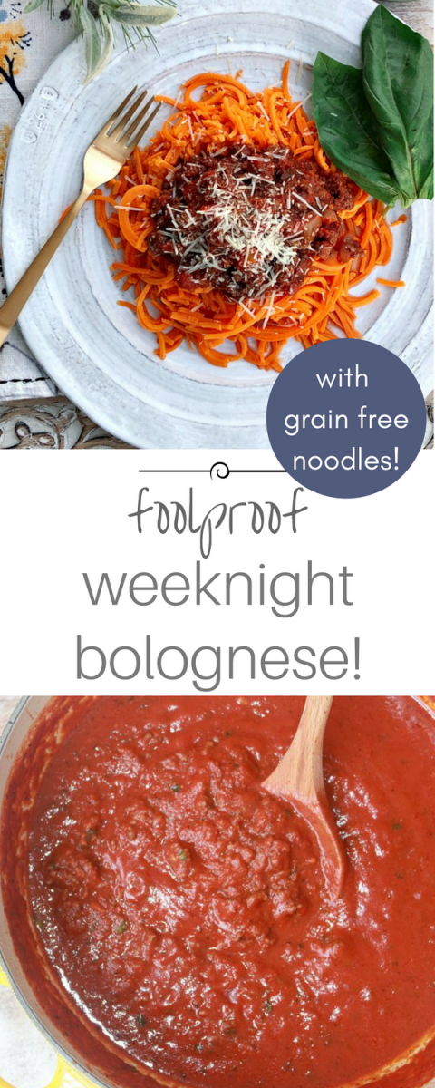 Tastes like it's been simmering on the stove all day! Quick, foolproof bolognese sauce recipe with sweet potato noodles!