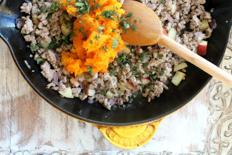 So yum! Ground turkey and sage for paleo butternut squash recipe.