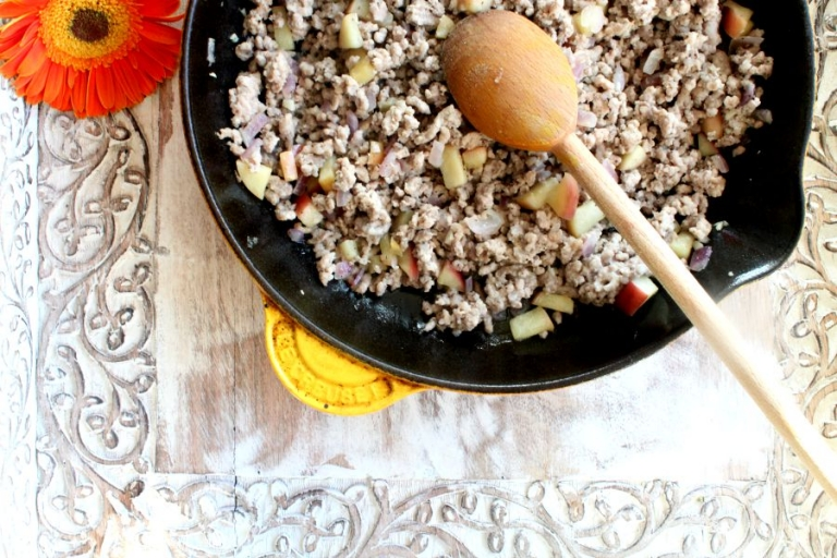 Ground turkey and apple saute for paleo butternut squash recipe!