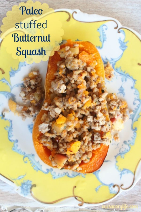 Simple and delicious paleo stuffed butternut squash recipe!