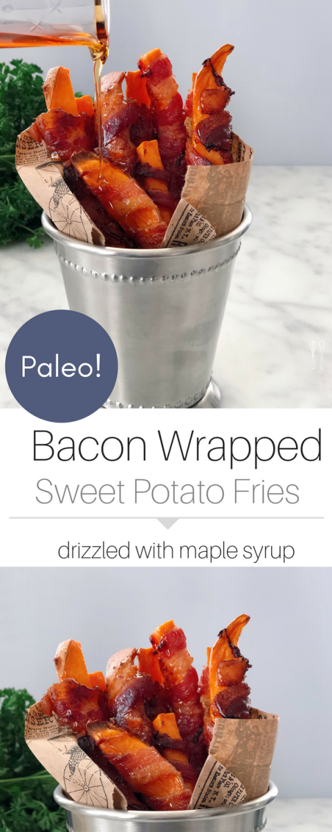 A Paleo snack! FOR EVERY PARTY! The best bacon wrapped sweet potato fries!