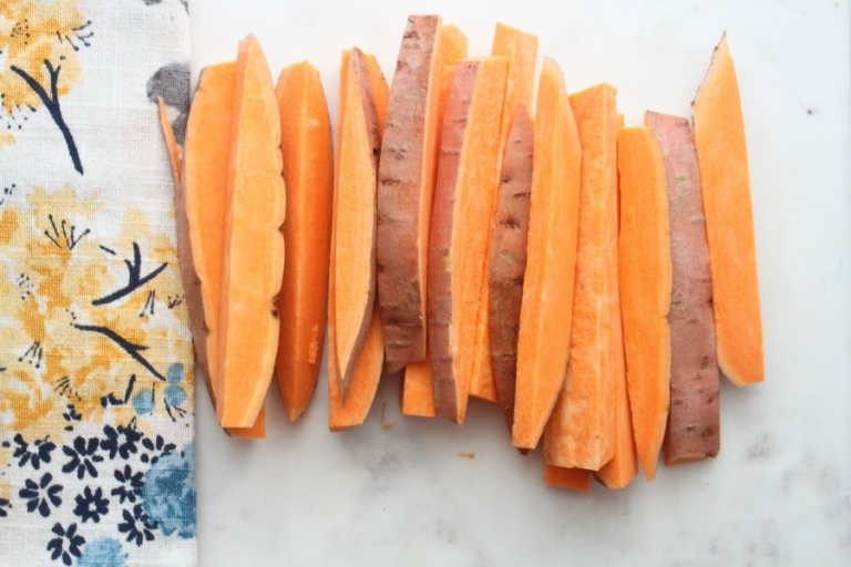 Recipe for the BEST bacon wrapped sweet potato fries!