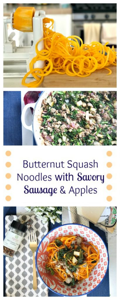 Paleo And SAVORY weeknight meal with butternut squash noodles and sausage! DELICIOUS!