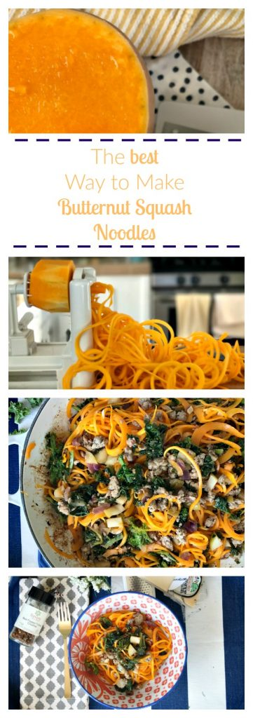 This is the EASIEST how-to-guide on making butternut squash noodles!! Includes a recipe for a weeknight meal! YUM!