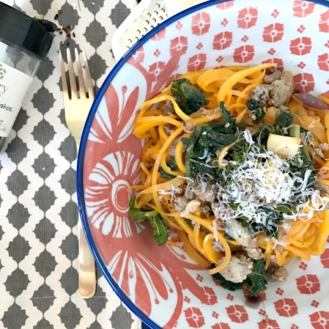 Dinner tonight!! Butternut squash noodles with a delicious sausage and kale saute!