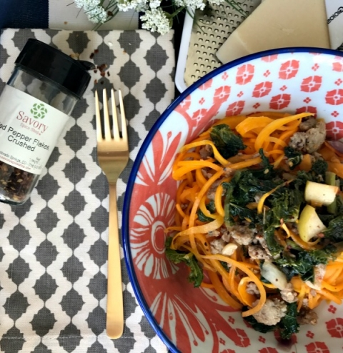 How to make butternut squash noodles with savory sausage for a weeknight meal!