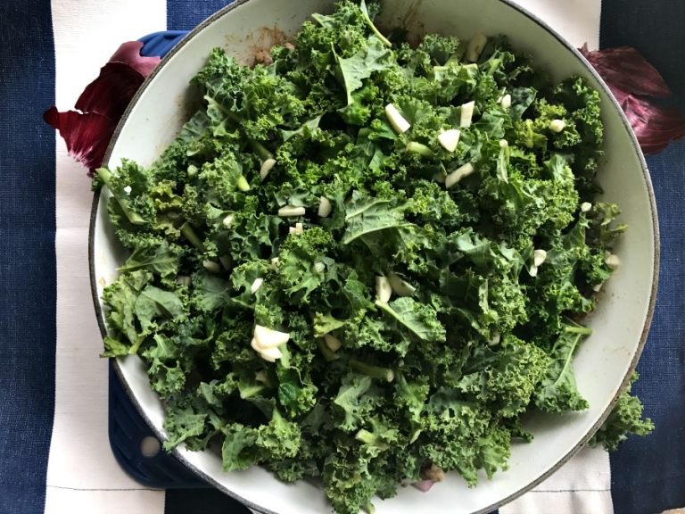 Savory kale and garlic saute for butternut squash noodles!