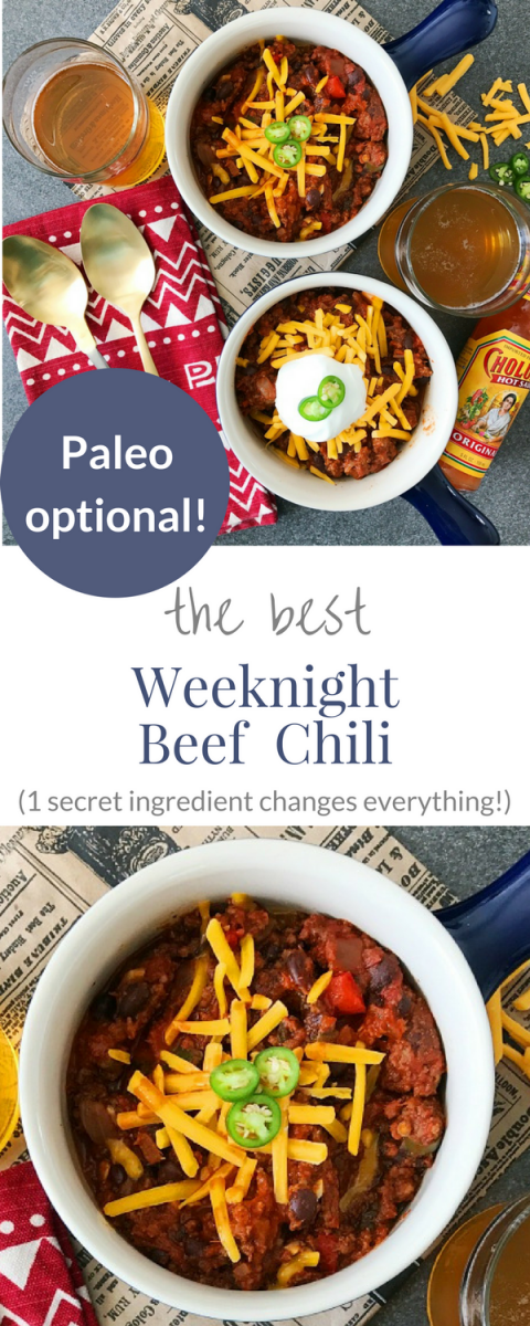 The best, cold weather chili recipe. Paleo optional! Quick and easy chili for dinner tonight!