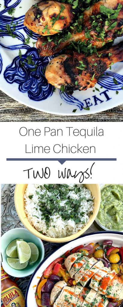 Juicy one pan tequila lime chicken recipe. Use with fajitas or for a burrito bowl! Perfect for a weeknight meal!