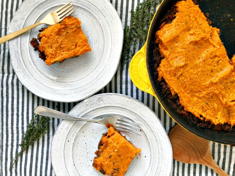 The ultimate comfort meal! Paleo sweet potato shepherd's pie! Savory and filling! Everyone in your family will devour this!