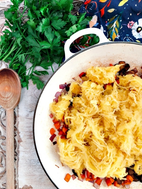 This mouthwatering Instant Pot spaghetti squash bake is so savory and satisfying! It is paleo optional, vegetarian and super quick to make which is perfect for weeknight meal!