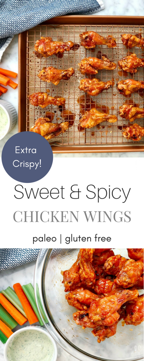 Mouthwatering! Sweet and Spicy Paleo Chicken Wings! They are crispy and packed with flavor. For your next party!