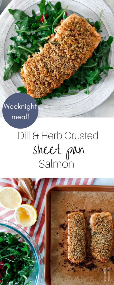 Healthy and delicious weeknight sheet pan meal! Savory herb crusted salmon with fresh dill and horseradish!