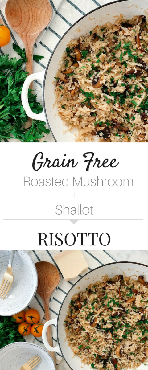 Packed with flavor plus quick and easy! Grain-Free Mushroom Risotto is the perfect side dish or weeknight meal for your whole family!
