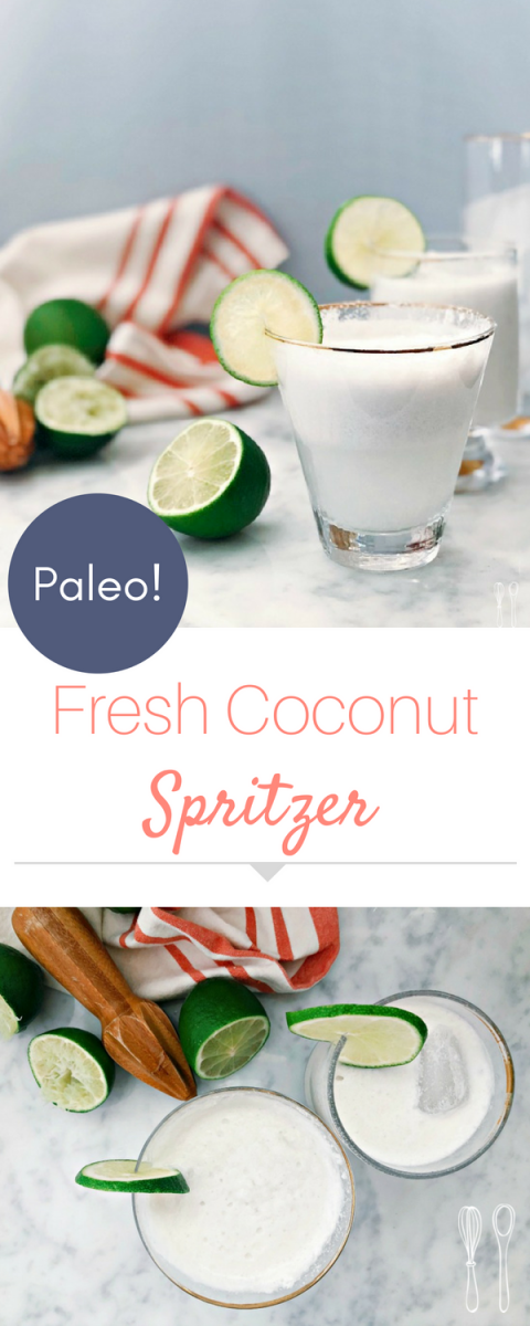 This summer paleo spritzer is perfect for anyone who wants a delicious and refreshing drink without all the added calories from sugar or alcohol!