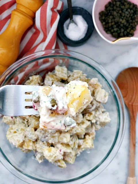 The perfect side dish for all gatherings! Delicious Instant Pot Potato Salad! Fresh herb, capers, and no mayo! No sugar! Perfectly creamy and flavorful!