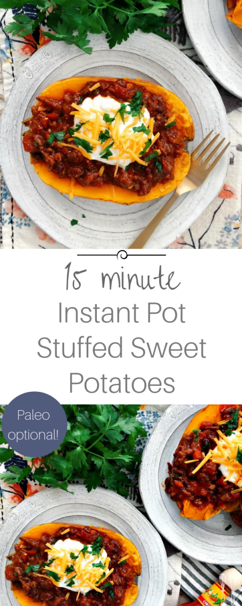 Perfect 15 Minute Instant Pot Sweet Potatoes stuffed with weeknight beef chili! So filling and hearty. Paleo Optional!