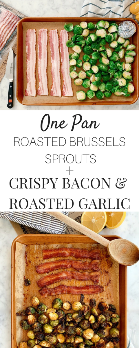This sheet pan is packed with flavor! A super easy and quick side dish for any meal! Roasted Brussels sprouts, crispy bacon and creamy roast garlic. And it's paleo!