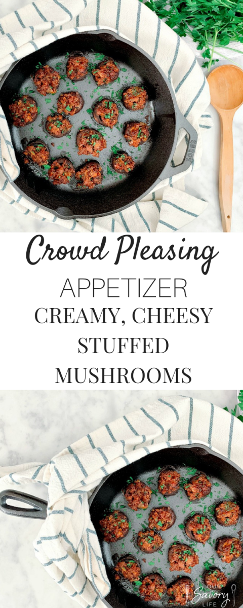 This is the ultimate crowd pleasing, holiday appetizer! Creamy, cheesy stuffed mushrooms. You can prepare these a day ahead for stressless entertaining!