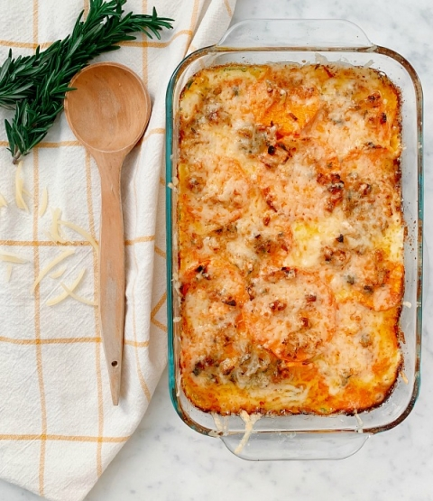This cheesy sweet potato gratin is the perfect side dish for any meal or gathering! The cheese and cream make it extra savory and decadent while the sweet potatoes add a hint of sweetness.