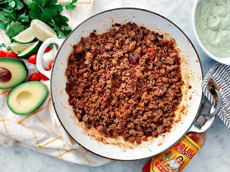 Unbelievably flavorful, quick homemade taco meat! Comes together in less than 30 minutes and is paleo!