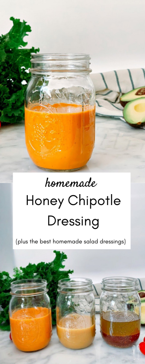 Mouthwatering homemade chipotle honey dressing! Perfect for burrito bowls, tacos, and salads! This dressing is bold with a little bit of heat and a subtle sweetness.
