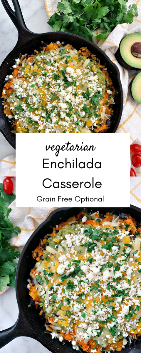 Delicious weeknight meal! This flavor-packed, cheesy enchilada casserole is filled with delicious salsa verde and roasted vegetables!