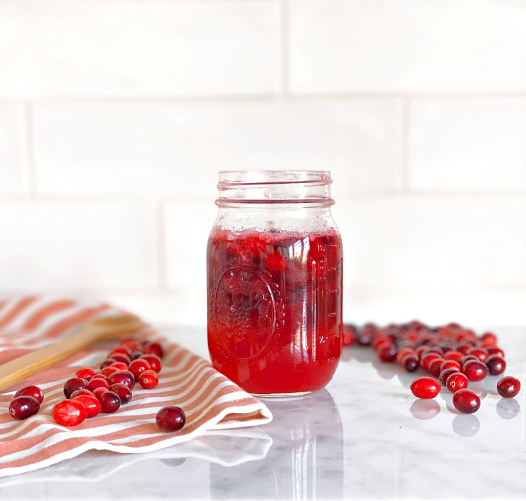 Cranberry Infused Homemade Honey Simple Syrup