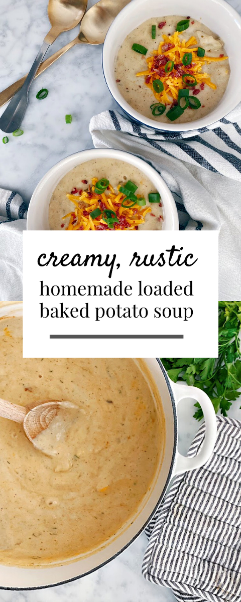 Mouthwatering!! This creamy, rustic homemade baked potato soup recipe is deeply satisfying and comforting! Perfect for a weeknight meal on a cold evening.