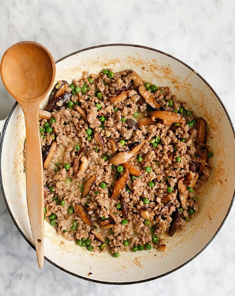 This creamy Italian Sausage Pasta is mouthwatering and hearty. Packed with roasted mushrooms and spring peas along with a velvety dollop of mascarpone cheese. It is the perfect comfort meal!