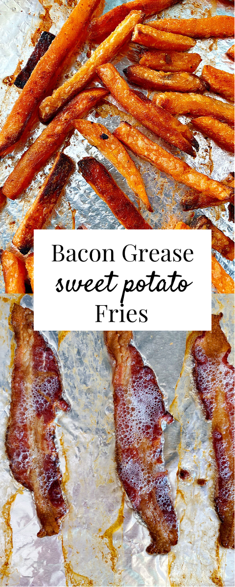 Crispy sweet potato fries coated in bacon grease! Take your fries to the next level with this easy method for baking fries!