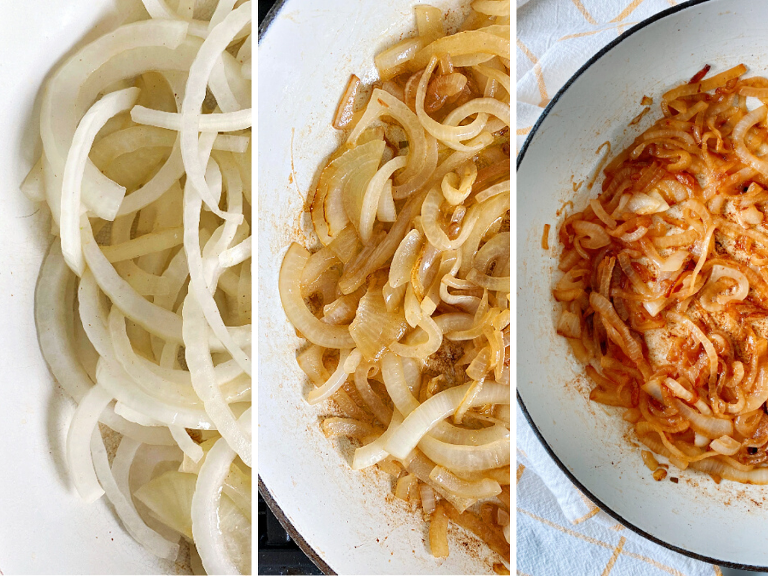 Buttery, salty, mouthwatering caramelized onions!! The best burger topping for your summertime burgers! Also delicious on hot dogs, bratwurst, sausages, and tacos!