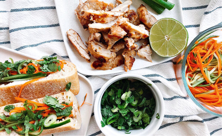 The best homemade sandwich!! Homemade Chicken Banh Mi with coconut marinated chicken and pickled veggies!